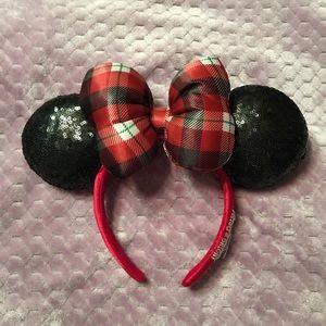 Disney Christmas Red Plaid Minnie Ear Headband